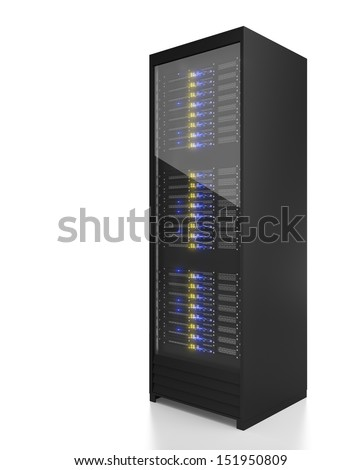 Server rack image. Isolated on white background - stock photo