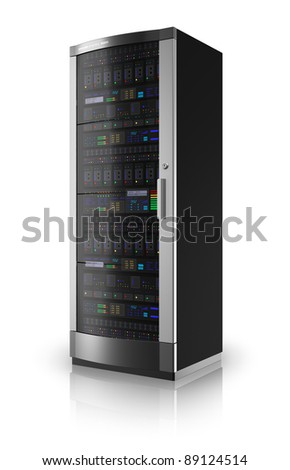 Server rack isolated on white reflective background - stock photo