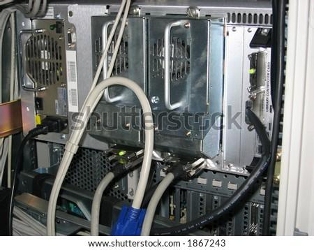 Server rack - rear side - stock photo
