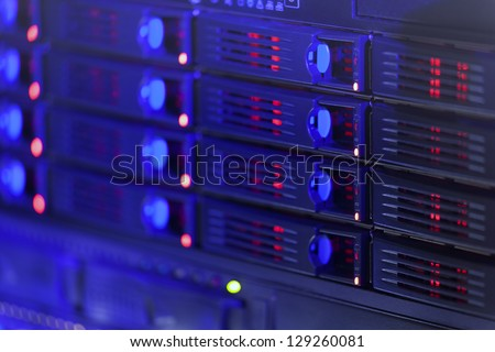 Server rack toned in blue color - stock photo