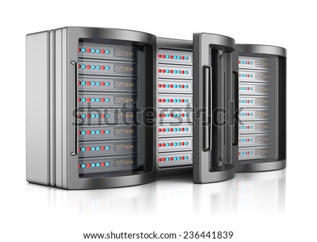 Server racks isolated on white background. 3d render - stock photo