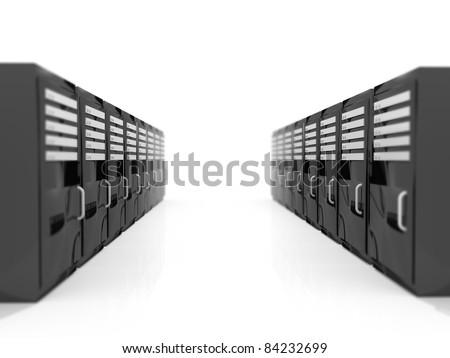 Server racks on a white infinite floor - stock photo