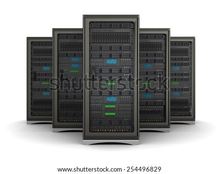 server racks standing in a row on a white background - stock photo