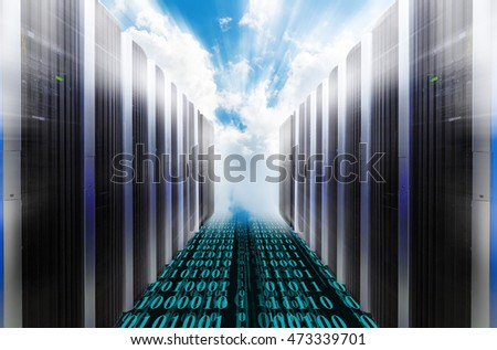 Server Racks with blue cloudy sky. blur light rays