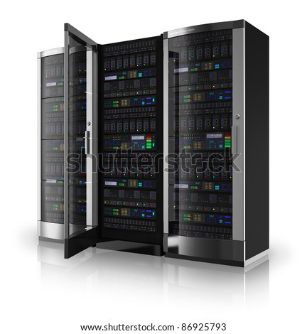 Server racks with one open door isolated on white reflective background - stock photo