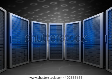 Server room against hexagon pattern on technical background with binary code