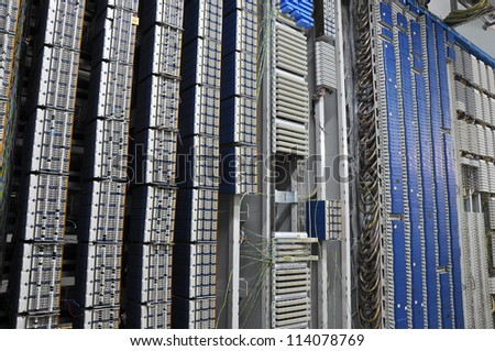 Server room and control board - stock photo
