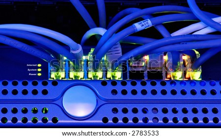 Server room and devices - stock photo