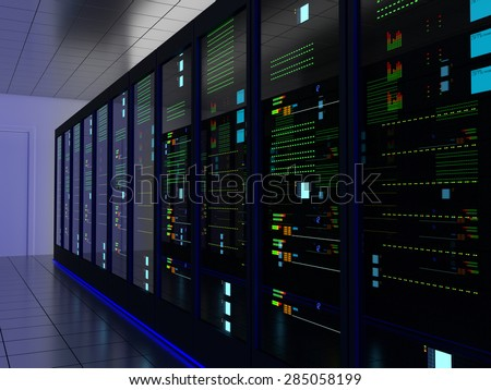 Server room (colocation) or colo with several cabinets, server, switches and gateways. - stock photo