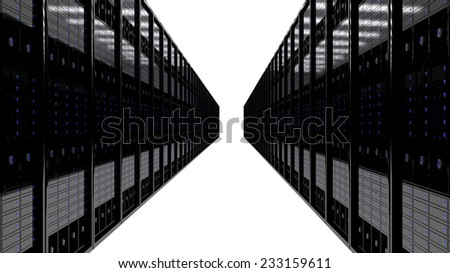 server room 3D rendering with clipping path - stock photo