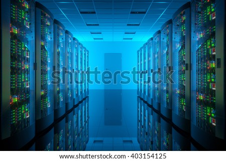 Server room in data center. Telecommunication equipment