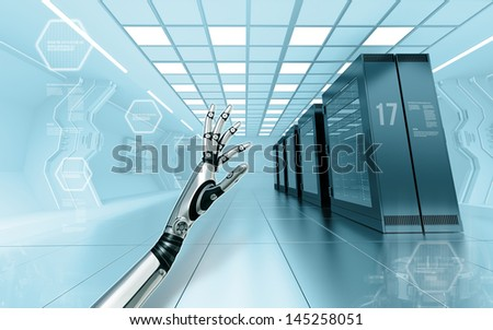 server room in data center with android metallic hand in futuristic interior - stock photo