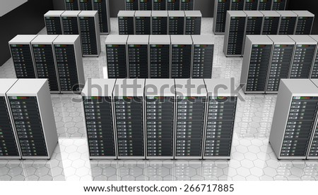 Server room in datacenter , clusters - stock photo