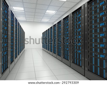 Server room in datacenter. Hosting services. - stock photo