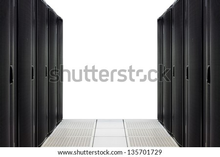 Server room interior isolated on white background - stock photo