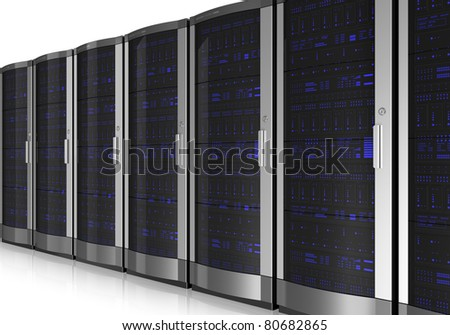 Server room interior isolated on white reflective background - stock photo