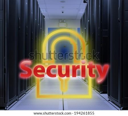 Server room Lock Key : Security concept - stock photo