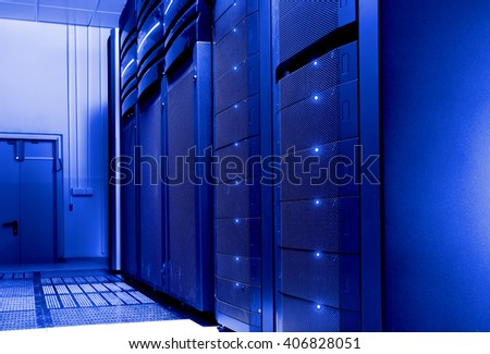 server room with modern communication and server equipment - stock photo