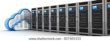 Server row and cloud (done in 3d) - stock photo