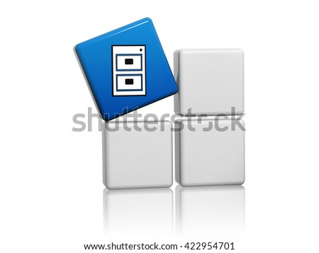 server sign - blue cube with white symbol on grey boxes 3D illustration, computer network icon concept - stock photo