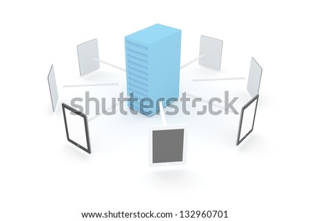 server to tablet connection - stock photo