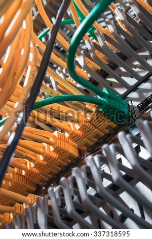 server with colored wires - stock photo