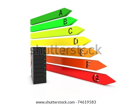server with energy chart - stock photo