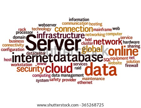 Server, word cloud concept on white background.  - stock photo