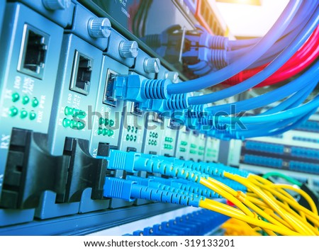 servers and hardwares in an internet data center - stock photo