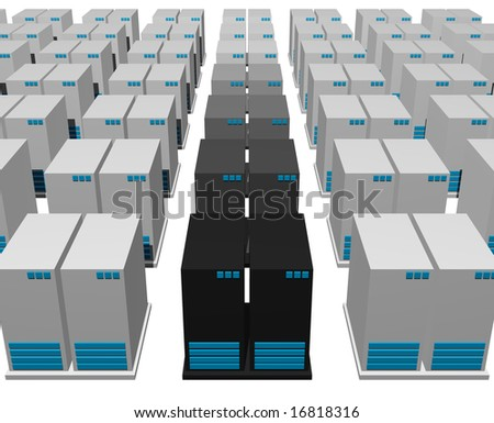 Servers from a Webhosting Company With a White Background - stock photo