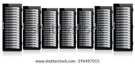 Servers in Cabinets - Raster Version - stock photo