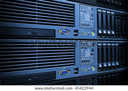 Servers rack with hard drives in a data center computer room - stock photo