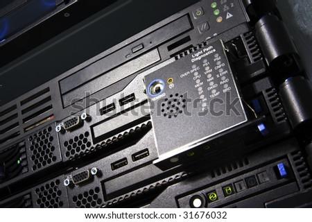 Servers with shiny Light path diagnostics panel - stock photo