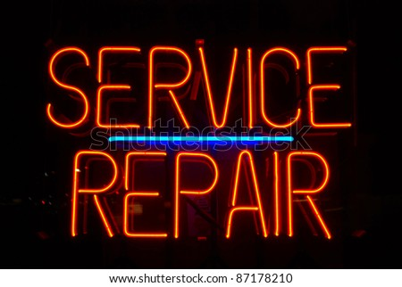 Service and Repair neon sign - stock photo