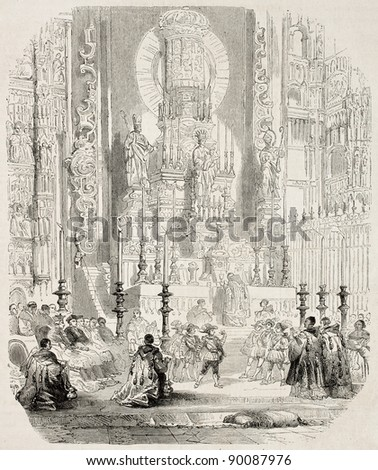 Service at cathedral, in Seville, old illustration. Created by Rouargue, published on L'Illustration, Journal Universel, Paris, 1858 - stock photo