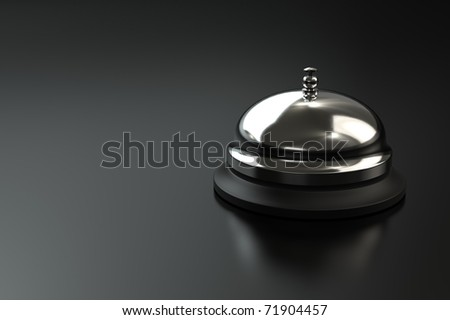 Service bell on dark background with space for copy. Computer generated image. - stock photo