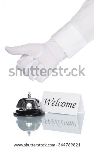Service bell on the Check in desk with white background, welcome