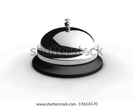 Service bell on white. 3D generated image. - stock photo