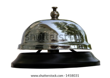 Service Bell Reflections - Ring service bell for quality service. - stock photo