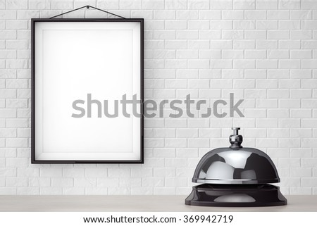 Service bell ring in front of Brick Wall with Blank Frame extreme closeup - stock photo