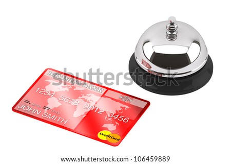 Service bell with Credit Card on a white background - stock photo
