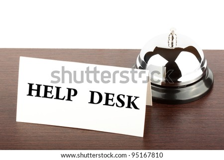 Service Bell with Help Desk  Sign at Hotel Desk - stock photo