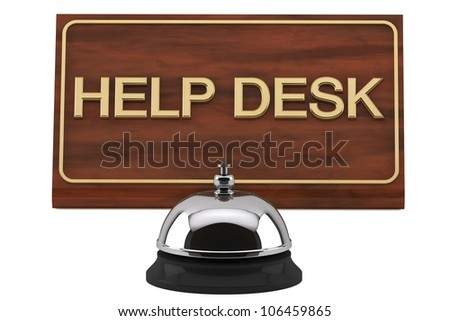 Service Bell with Help Desk Sign Plate on a white background