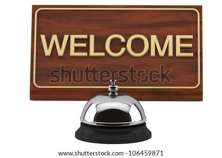 Service Bell with Welcome Sign Plate on a white background - stock photo