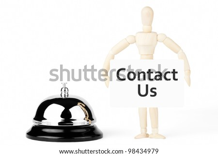 Service Bell, wooden dummy with contact us sign on the white background - stock photo