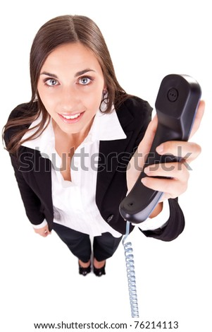 service business secretary with phone, isolated on white, top view - stock photo