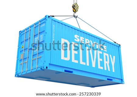 Service Delivery - Blue Cargo Container Hoisted by Hook, Isolated on White Background. - stock photo