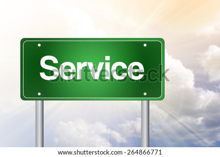 Service Green Road Sign, Business Concept - stock photo