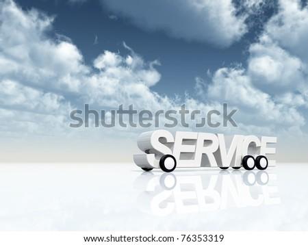 service on wheels under blue sky - 3d illustration - stock photo