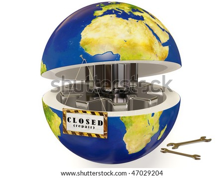 service process in earth on white - stock photo